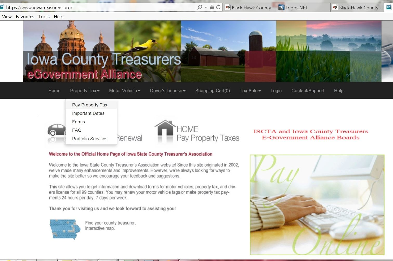 Copy of home page of Iowa Treasurer's website
